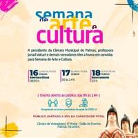Câmara de vereadores de Palmas realizará I Semana de Arte e Cultura
